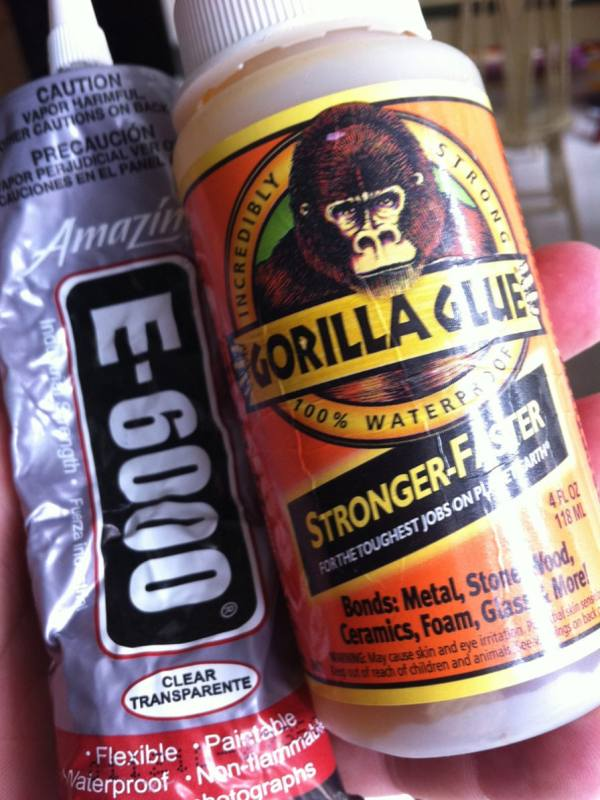 My 2 favorites. Gorilla Glue and E-6000