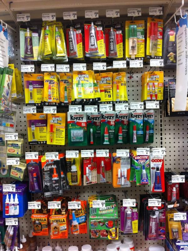 Glue display at Michaels Craft store