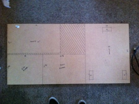 Although I don't actually cut on the lines, I just lay it out to help visualize and make sure I can get all the pieces I need from the sheet. And marking where the 2'x4' uprights will go helps to get everything assembled.