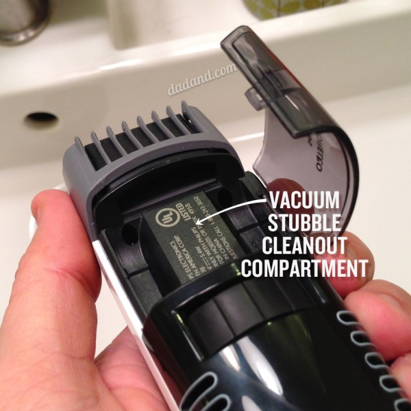 Phillips Vacuum stubble and beard trimmer compartment
