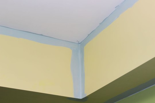 I cut-in the Sparkling Lake light gray-teal-blue color. Notice the lack of tape. I didn't care about the ceiling…