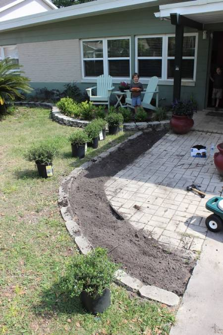 I raked up the bed after manure application and we prepared to layout the plants.