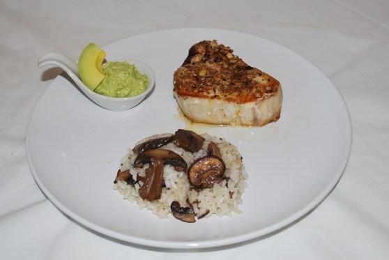 plated Swordfish steak dinner