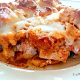 This weeknight Chicken Parmesan Casserole Bake has all the flavors of your favorite Italian dish without all the mess of frying the cutlets.