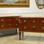 Pair Louis XVI Marquetry Commodes