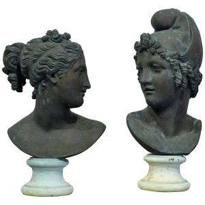 Pair of Neoclassical Bronze Busts