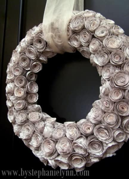 paper flower wreath from book pages