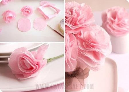 DIY pink paper roses