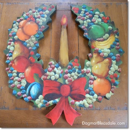 wooden, painted wreath