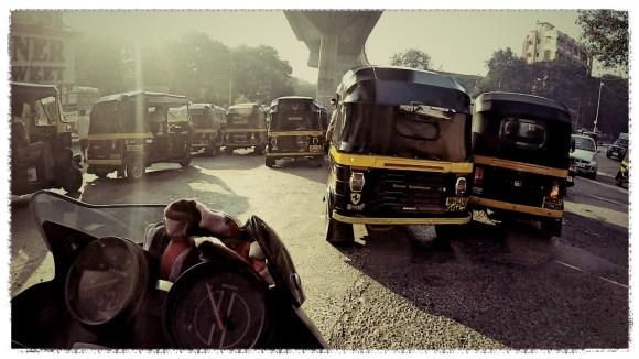 motorcycle through india, mumbai traffic, round the world motorcycle trip, india