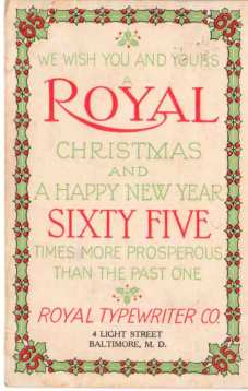 Royal Typewriter Christmas Card 1909
