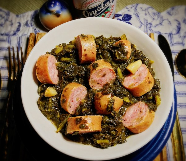 Super Simple Southern Style Mixed Greens & Sausage in a Crock