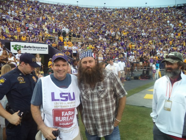DCF VP Matt Delaney takes a  pic with Willie Robertson, from Duck Dynasty at the LSU vs UL Monroe Game.