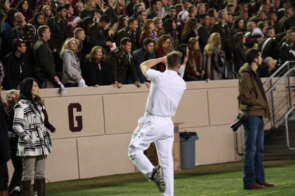 Texas AM Yell Leader getting the Aggie crowd going.