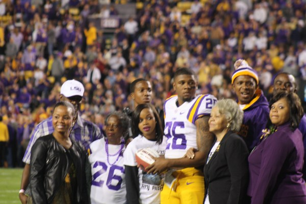 LSU Ronald Martin hanging out with his family for LSU Senior Day.