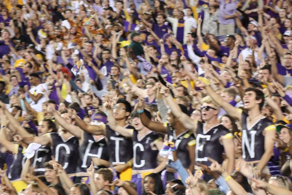LSU Students celebrating after Dupre TD.