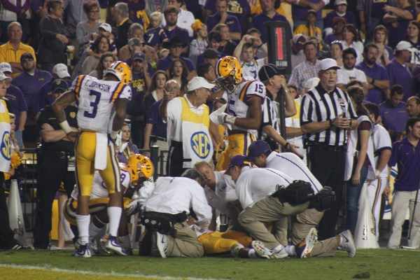 LSU qb Harris gets knocked down on a try for a 2 pt conversion.