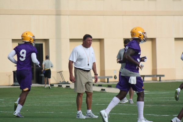 LSU Coach O getting the team fired up during practice.