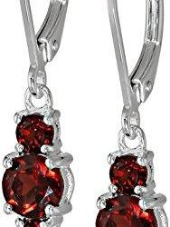 Sterling-Silver-Garnet-Three-Stone-Dangle-Earrings-0