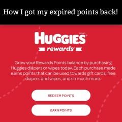 Got My Expired Huggies Rewards Back