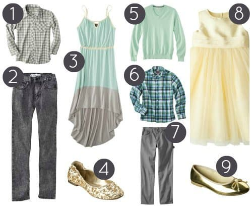 Affordable Family Photo Outfits - mint yellow grey gold