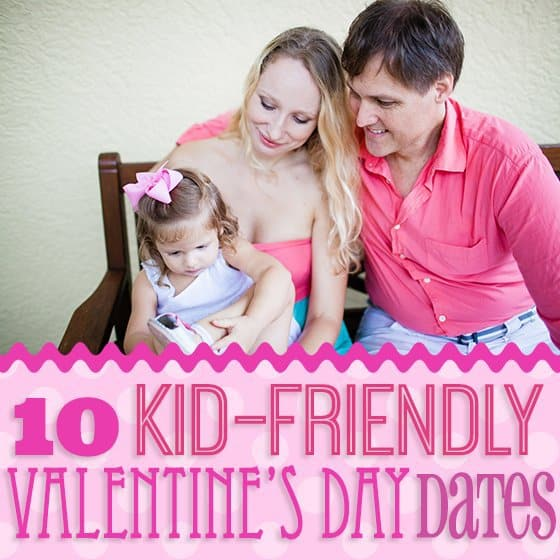Husband and wife with toddler on Valentine's Day
