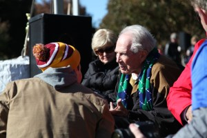 Staff writer Trevor Smith (left) speaks with Regent's Founder and Chancellor, Dr. Pat Robertson at the Chili Bowl in Virginia Beach, VA, Saturday, Nov. 12, 2016. (Nicolas Reynolds).
