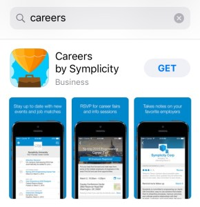 "The Careers app can be found in the app store by simply searching ""careers."" Dec. 2017. Screenshot by Shelly Slocum."