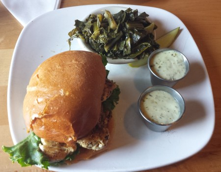 Grilled Chicken Sandwich with Tartar Sauce and Collard Greens