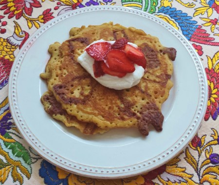 My Chocolate Swirled Pancakes with Strawberries and Coconut Whipped Cream