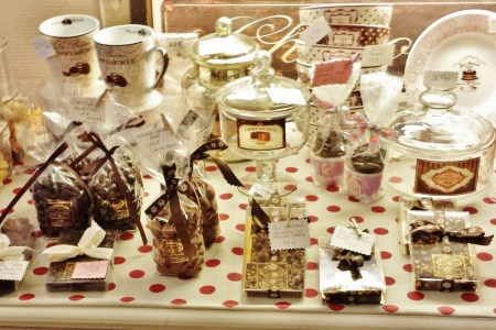 Counter with Dairy Free Chocolates in Dame Cakes