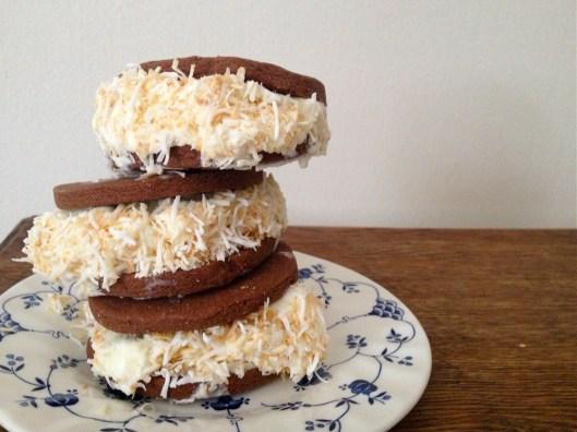choc-coconut ice-cream sandwiches