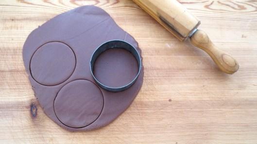 cutting chocolate cookie dough