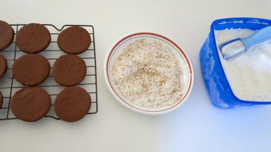 chocolate cookies, toasted coconut, vanilla ice-cream