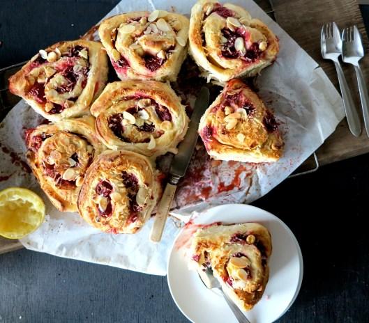 raspberry & coconut banana bread scroll