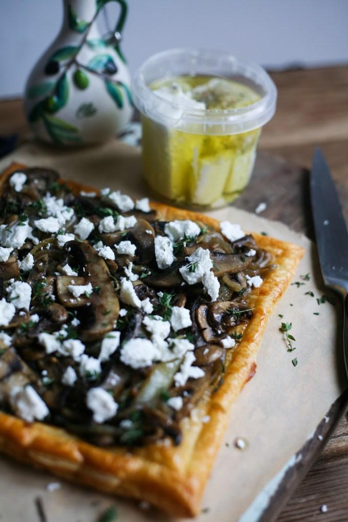 Mushroom & Onion Thyme Puff Pastry Tart
