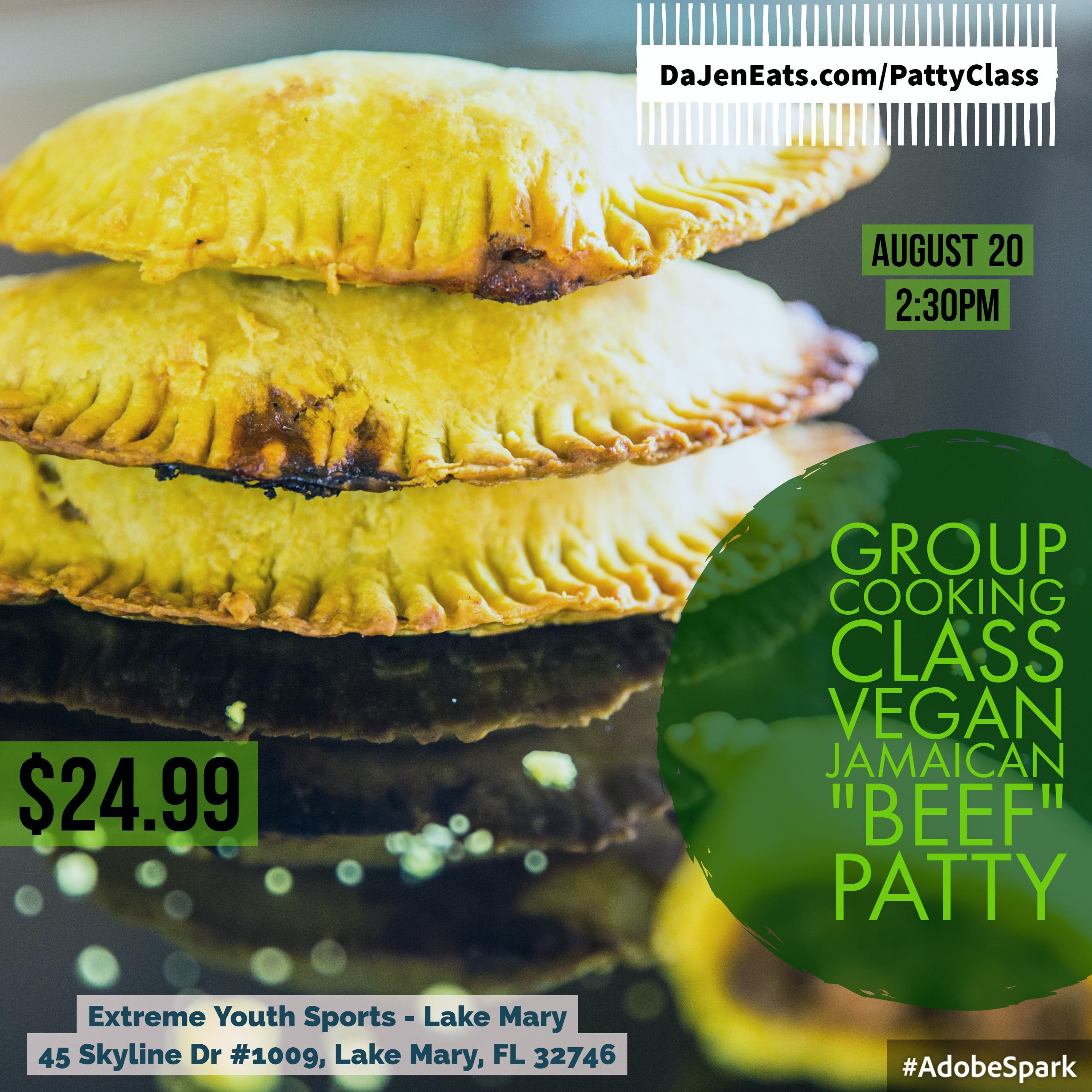 """Group Cooking Class: Vegan """"Jamaican"""" Beef Patty"""