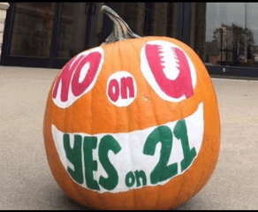 Great Ballot Issue Pumpkin! No on U, Yes on 21!