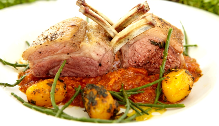 Rack of lamb with Punjabi masala, served with spiced minted potatoes