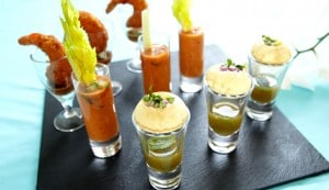Shot glass canapés (Pani Puri (v), Authentic Gazpacho (v), Panko coated king prawns)