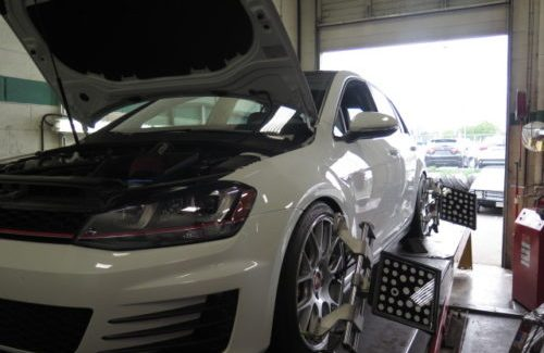 Mikal's VW GTI in for a 4-wheel Alignment Set-up and Brake Flush