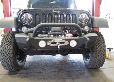 Jeep Wrangler with some new mods- Soft top, bumper, winch, lighting…..
