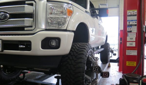Late model F-350SD in for a Redhead Steering Gear and an alignment at Dales Auto Service