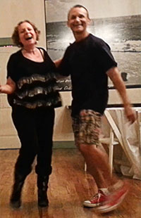 Fredda and James Schlesinger dancing in LA