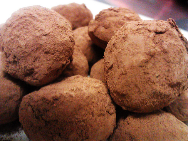 Traditional cocoa-dusted hand-enrobed truffles