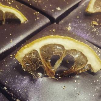 Lemon Lavender Caramel Shortbread Squares with house candied lemon wedges. Donna and Rich crafted these for a wedding commission, but saved a few for you the