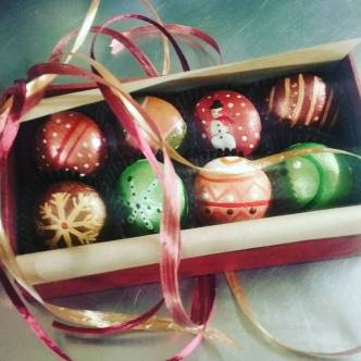 BOX OF ORNAMENTS - One of a kind box of persimmon lime bonbon ornaments hand-painted by Laurie Lowy