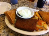 Trying out scrapple at City Line Diner in Harrisburg, PA