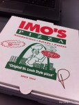 IMO's Pizza, super thin crust pizza. St. Louis Style. Sort of like Me N' Eds.