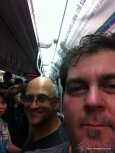My coworker Dohn and I on the subway.